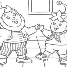 Dibujo para colorear : Noddy juega con Jumbo