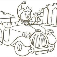 Dibujo para colorear : Noddy paseándose en su coche