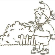 Dibujo para colorear : Noddy rastrillando