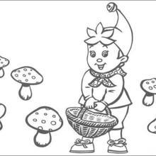 Dibujo para colorear : Noddy y cesta de champiñones