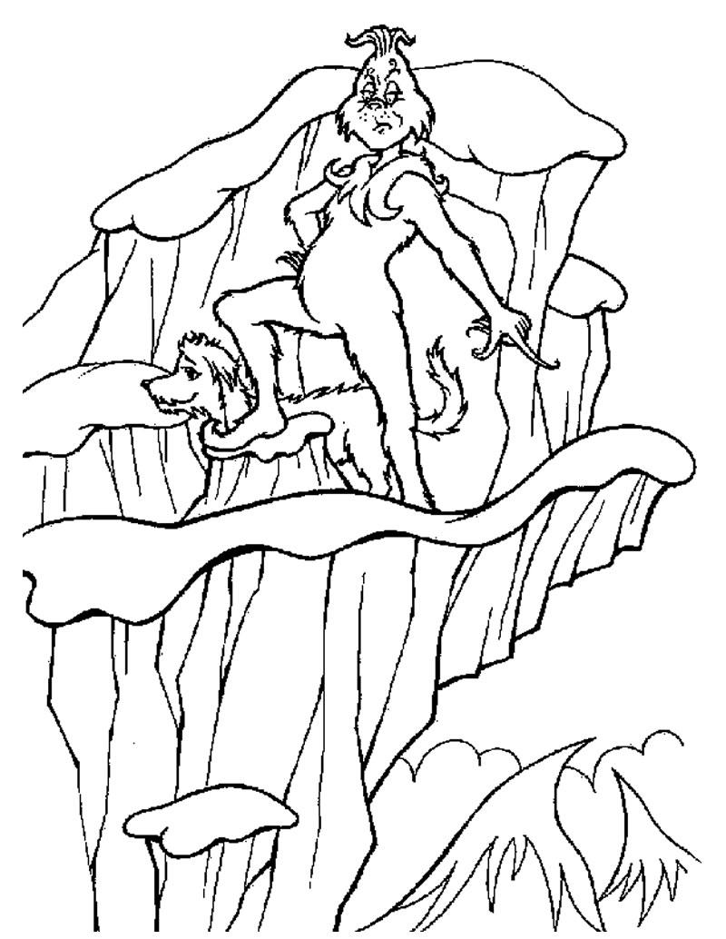 Dibujos para colorear el grinch con su perro max - es.hellokids.com