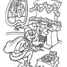 Dibujo para colorear : El Grinch disfrazado de Santa Claus