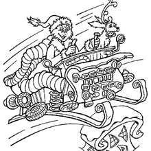 Dibujo para colorear : El Grinch en un trineo navideño