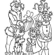 Dibujo para colorear : El Grinch regala regalos de Navidad