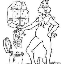 Dibujo para colorear : El Grinch tira cartas navideñas a la basura