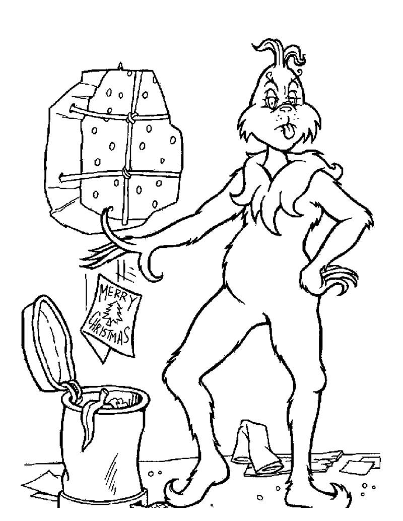 Dibujos para colorear el grinch tira cartas navideñas a la basura ...