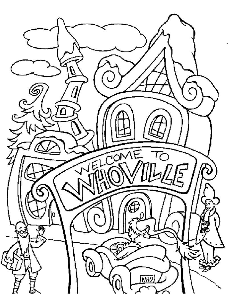 Dibujos para colorear whoville la ciudad del grinch - es.hellokids.com