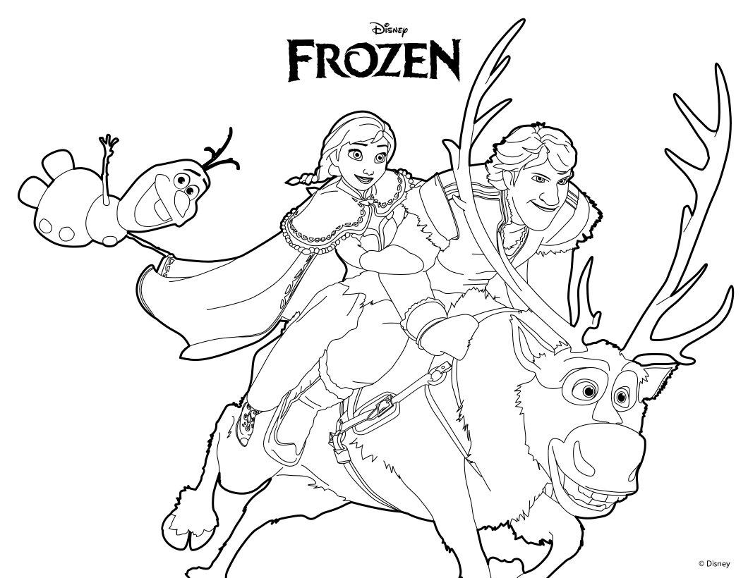 Dibujos para colorear ana, olaf y kristoff - es.hellokids.com