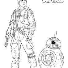 Dibujo para colorear : Poe Dameron y el droide BB8