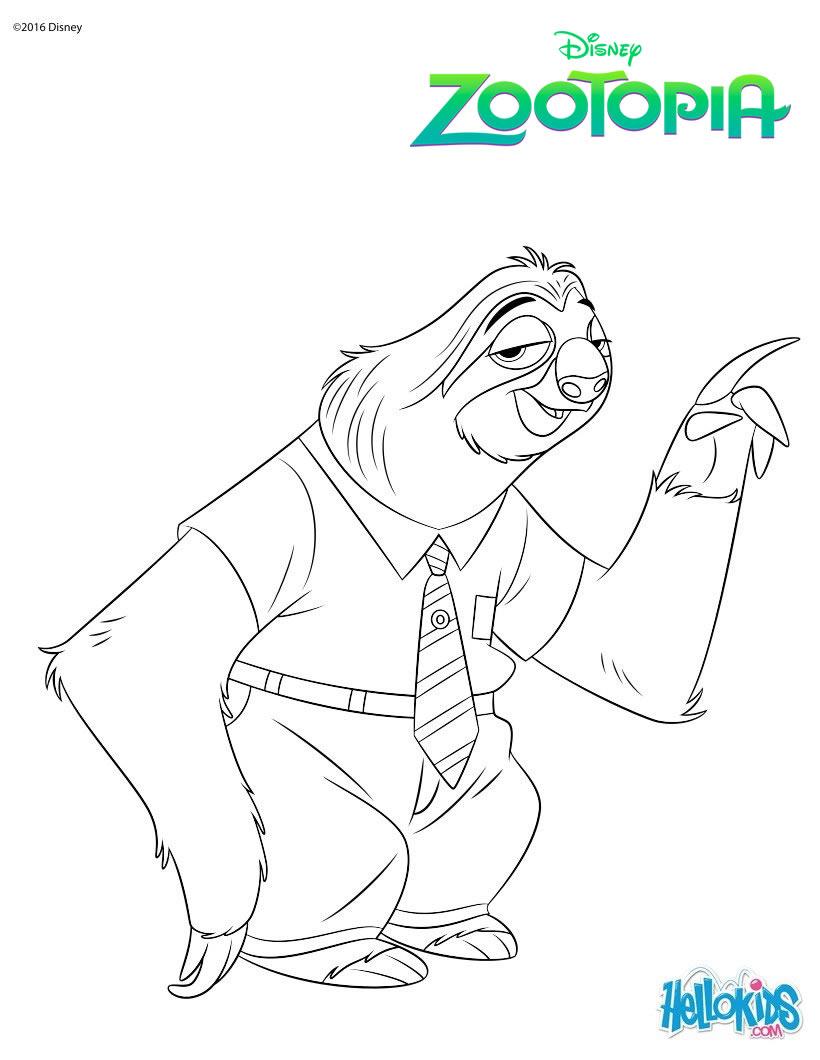 Dibujos para colorear flash el oso perezoso de zootopia  es