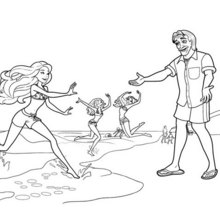 Dibujo para colorear : Barbie como Merliah con su abuelo humana