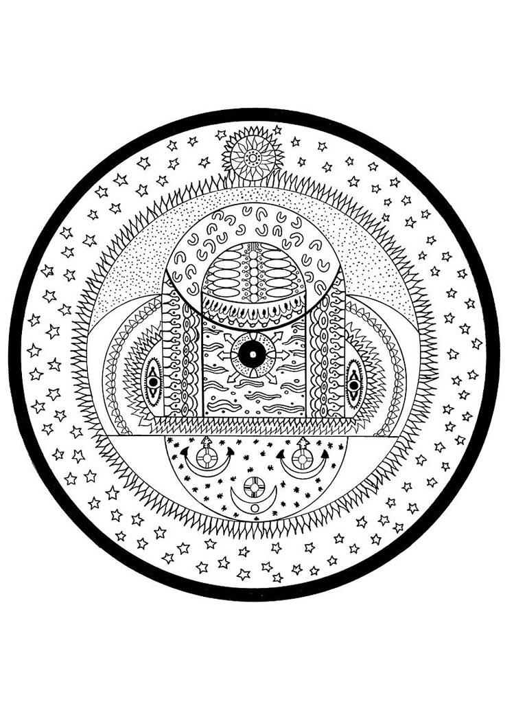 Dibujo para colorear : India cósmica esferas mandala
