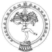 Dibujo para colorear : Mandala de la danza de Shiva de la India
