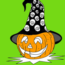 halloween: calabaza con sombrero