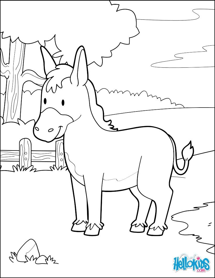 Dibujo para colorear : Burro en el bosque
