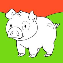 Dibujo para colorear : Cerdo sonriente dulce