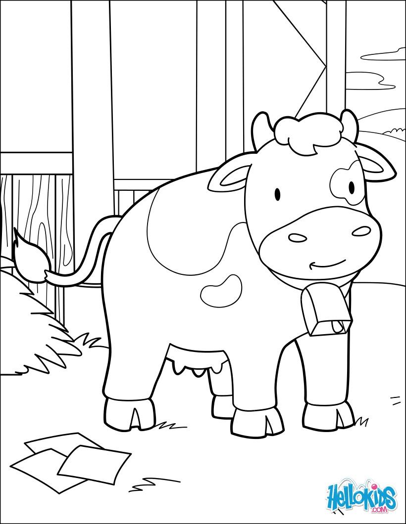 Dibujos para colorear vaca en el granero - es.hellokids.com