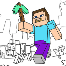 Dibujo para colorear : Taking a walk in Minecraft