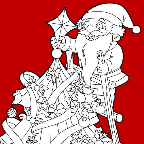 Santa Claus preparando el arbol de Navidad