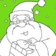 Dibujo para colorear : Papá Noel sonriente