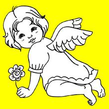 Dibujo para colorear : un angelito navideño