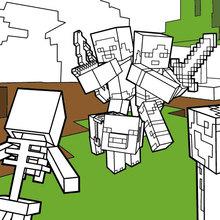 Dibujo para colorear : Luchar todos los mulas en Minecraft