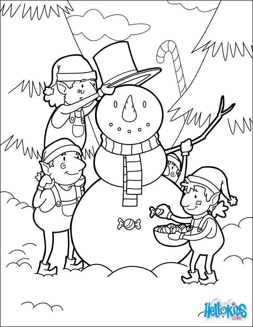 Dibujos para colorear elfos construyendo un muñeco de nieve para la ...