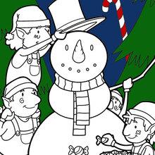 Dibujo para colorear : Elfos construyendo un muñeco de nieve para la Navidad