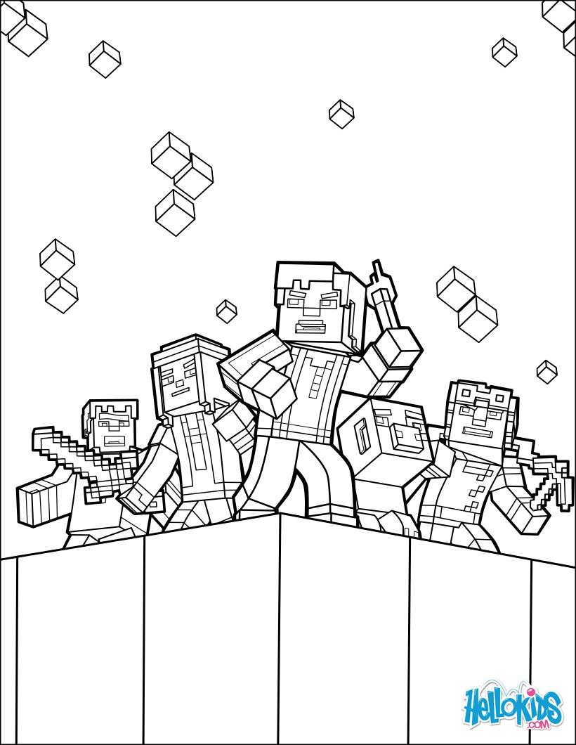 Dibujo para colorear : Explore el mundo de Minecraft