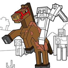 Dibujo para colorear : Montar un caballo hasta el horizonte de Minecraft