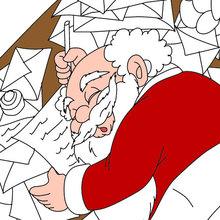 Dibujo para colorear : Papa Noel cansadisimo con sus cartas de navidad