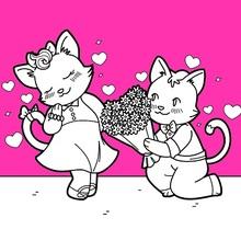 Dibujo para colorear : Gatos enamorados