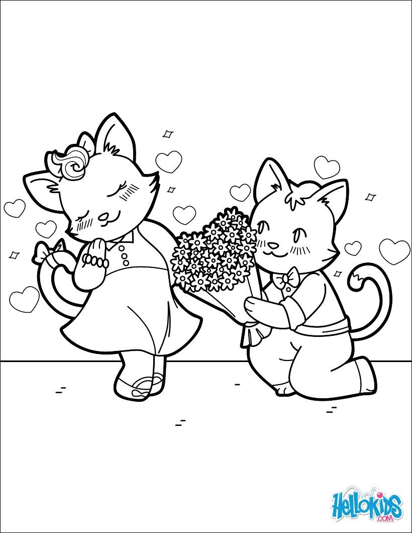 Dibujos para colorear gatos enamorados - es.hellokids.com
