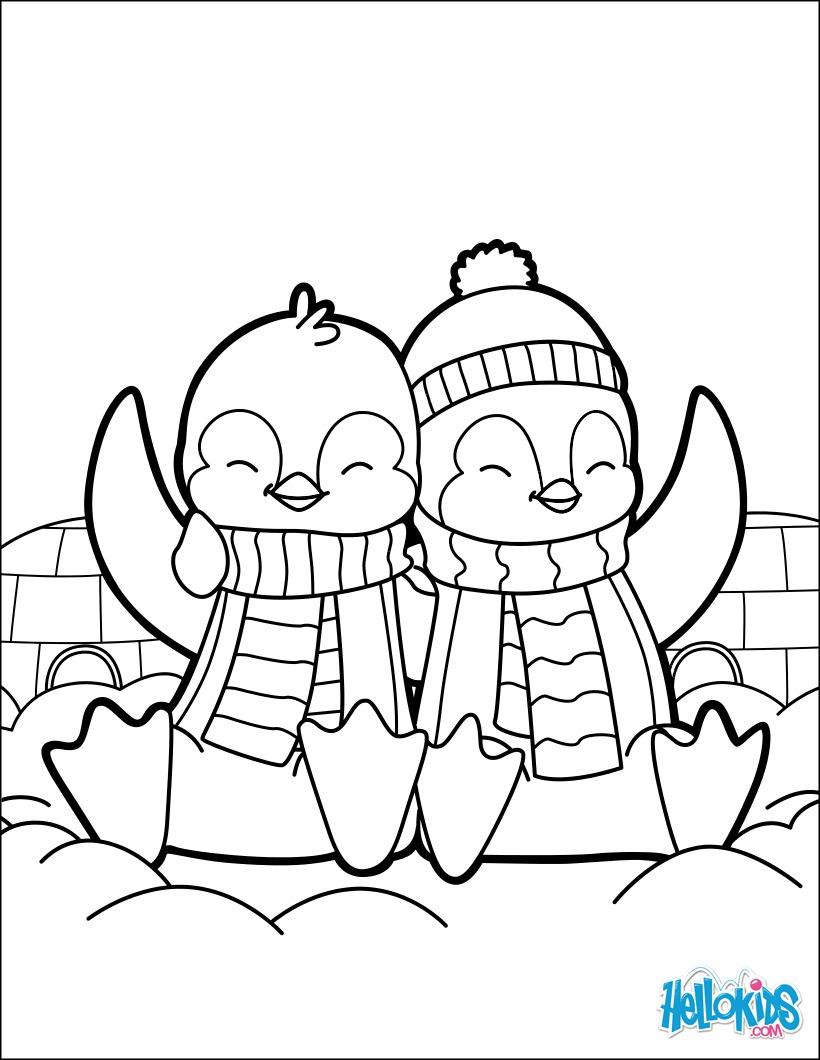 Dibujos para colorear valentines pingüinos - es.hellokids.com