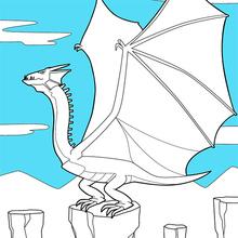 Dibujo para colorear : Dragón alado gigante