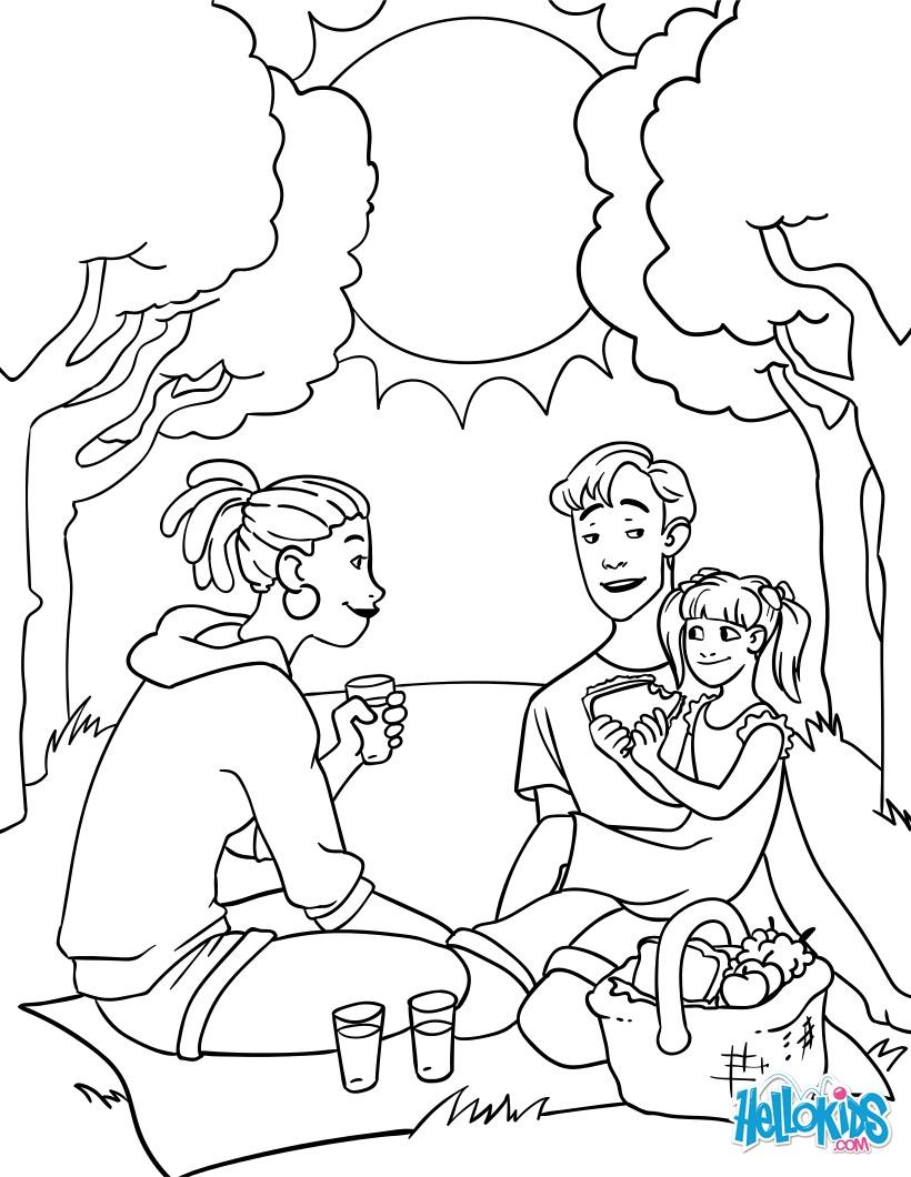 Dibujo para colorear : El pícnic