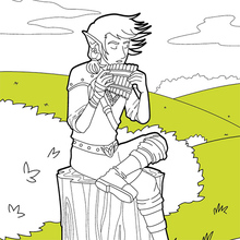 Dibujo para colorear : Músico Elfo