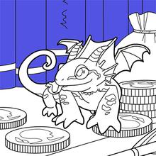 Dibujo para colorear : Dragón miniatura