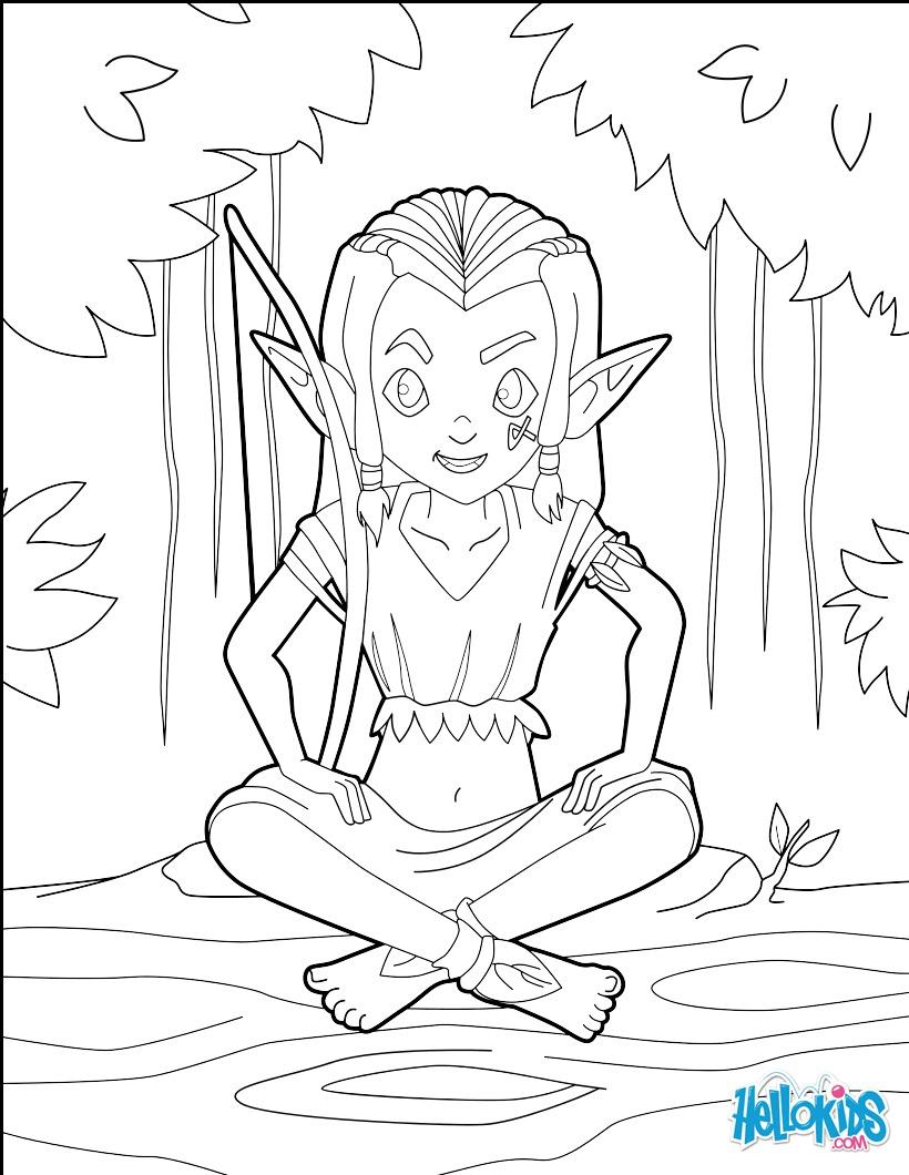 Dibujo para colorear : Arquero elf niño
