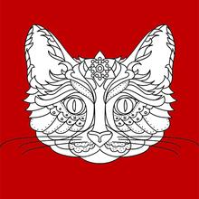 Dibujo para colorear : Gato Mandala