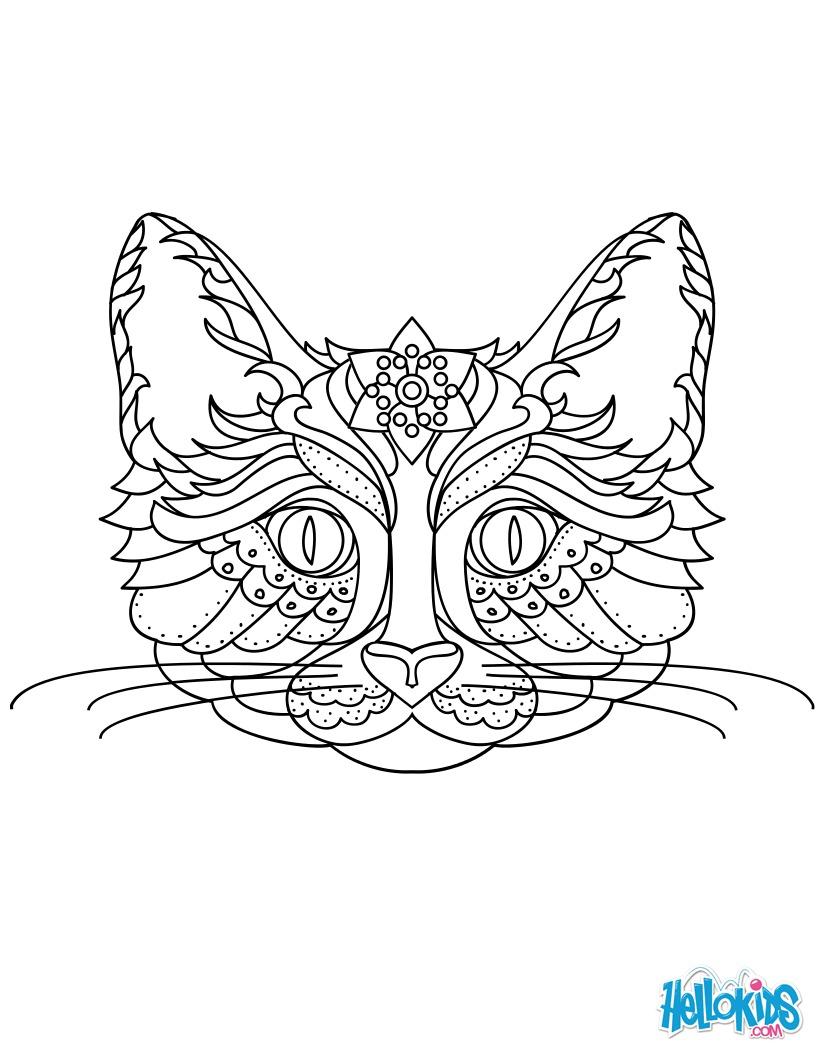 Dibujos para colorear gato mandala - es.hellokids.com
