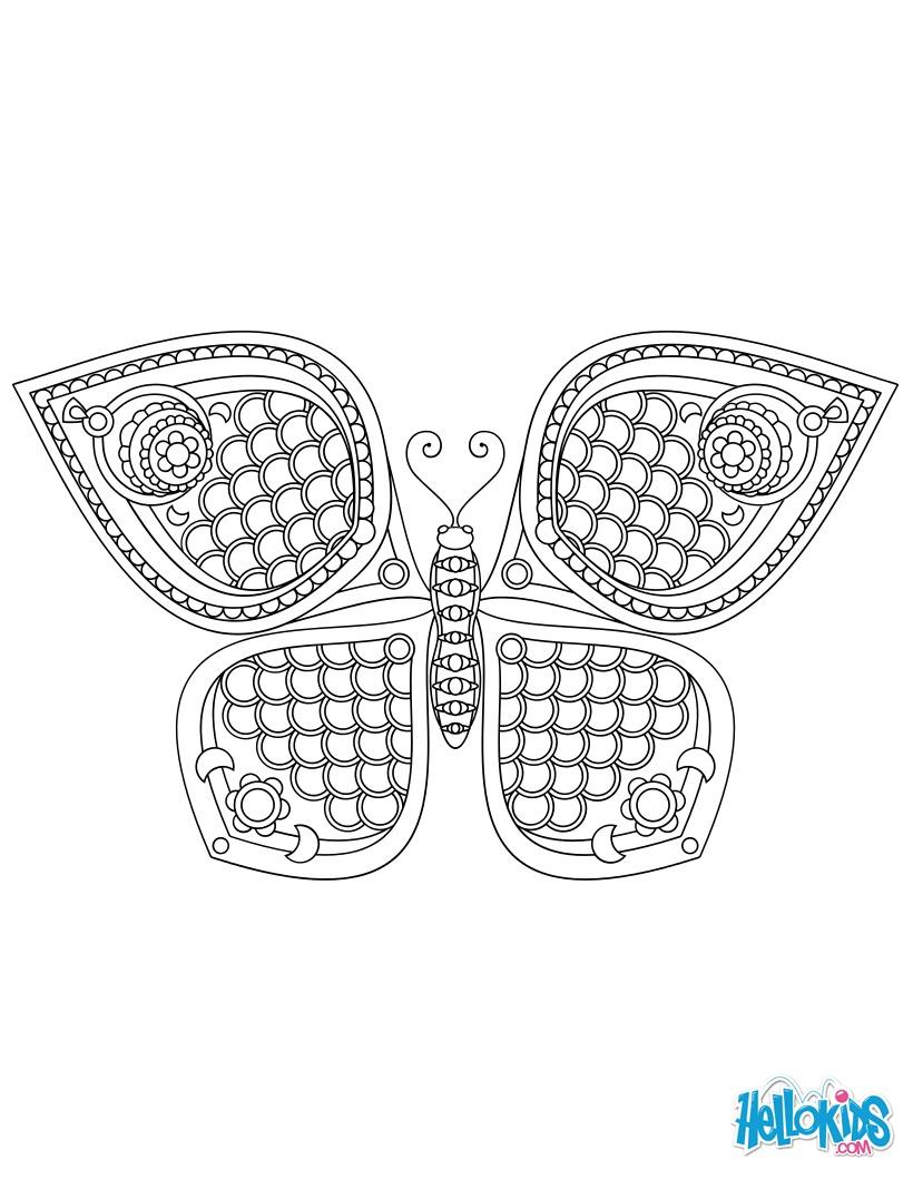 Dibujo para colorear : Mariposa Mandala