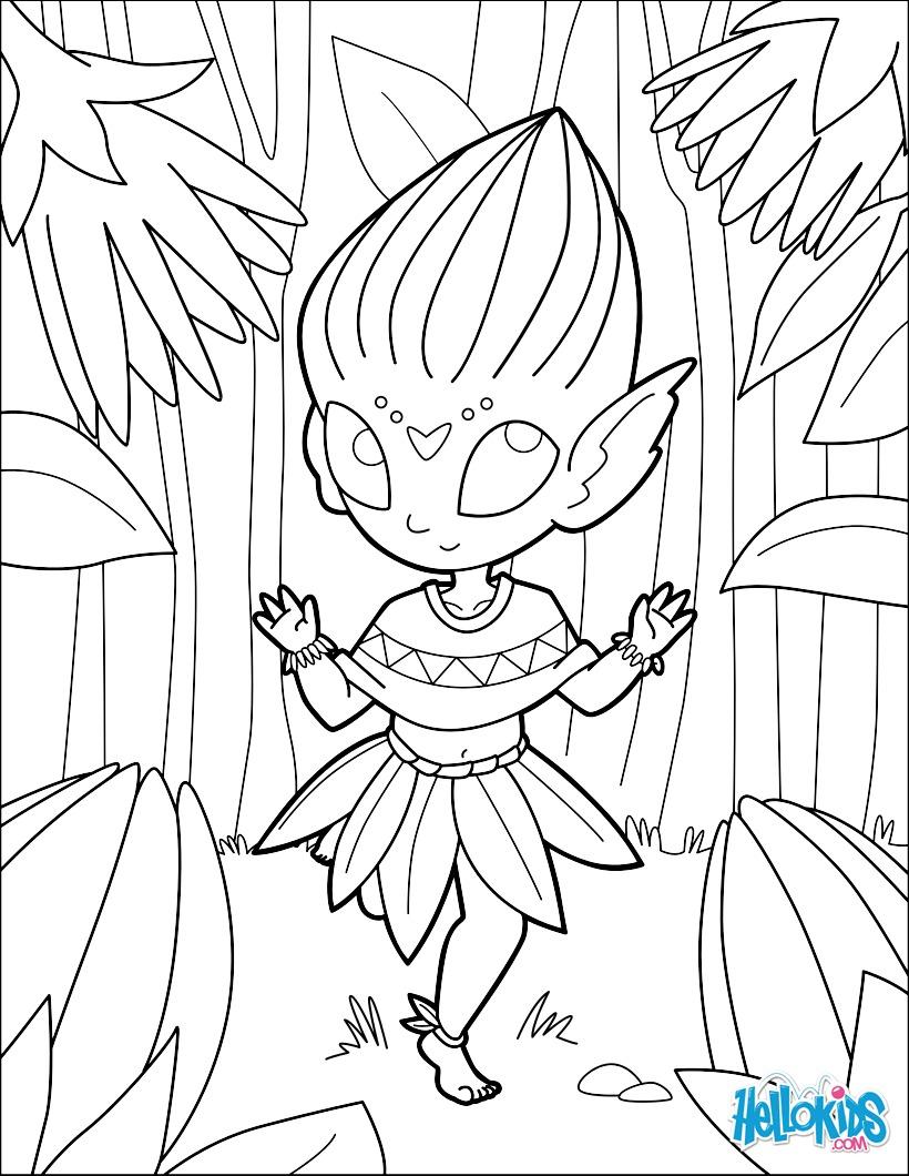 Dibujos para colorear flores elfos - es.hellokids.com