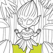 Dibujo para colorear : Flores Elfos