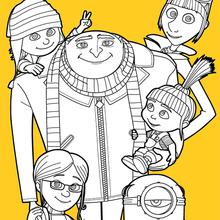 Dibujo para colorear : Gru y su familia