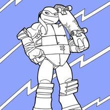 Dibujo para colorear : Tortugas Ninja con su monopatín