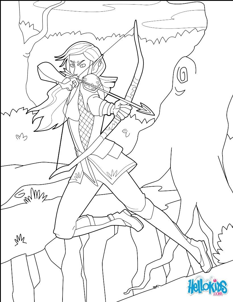 Dibujos para colorear arquero elfo - es.hellokids.com
