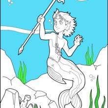 Dibujo para colorear : Merman Príncipe