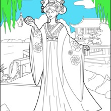 Dibujo para colorear : Princesa China