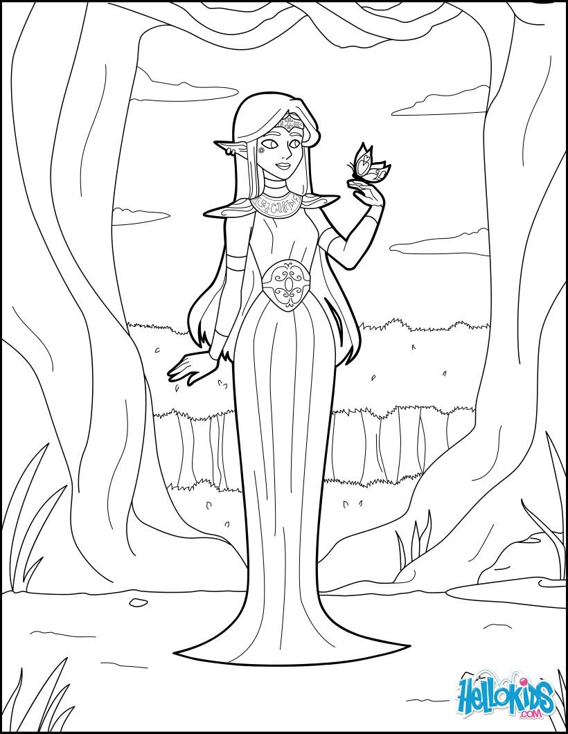 Dibujo para colorear : Princesa Elfa